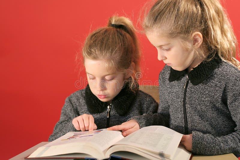 κορίτσια λίγα που μελετούν δύο στοκ εικόνες