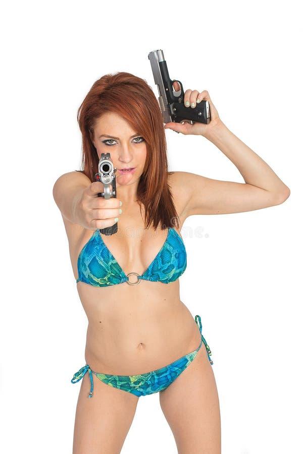 Κορίτσια με τα πυροβόλα όπλα στοκ φωτογραφίες με δικαίωμα ελεύθερης χρήσης