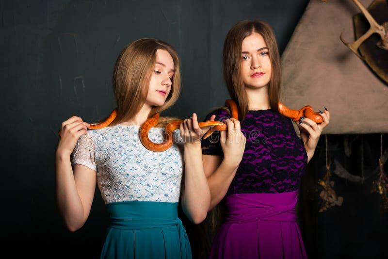 Κορίτσια με τα φίδια στοκ φωτογραφία