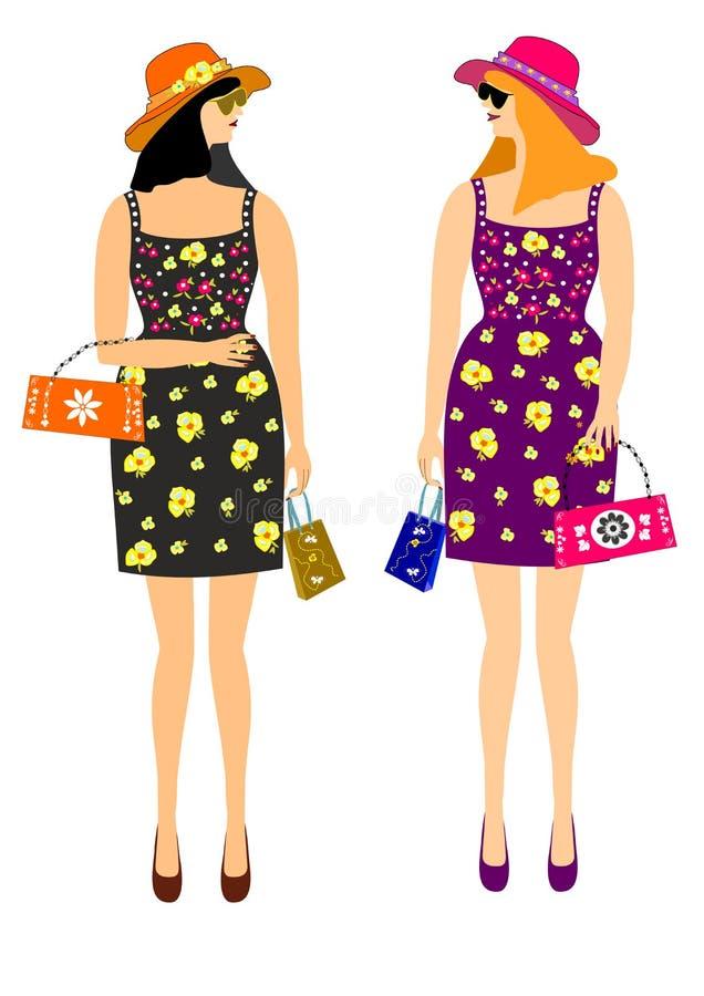 Κορίτσια με τις αγορές στα όμορφα φορέματα διανυσματική απεικόνιση