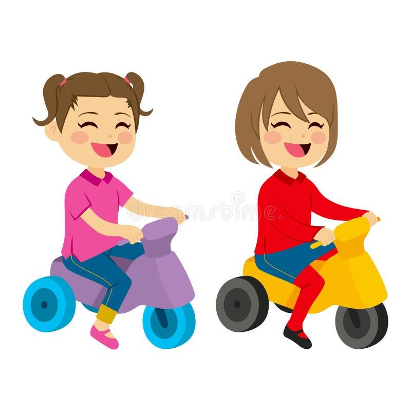 Κορίτσια με το τρίκυκλο διανυσματική απεικόνιση