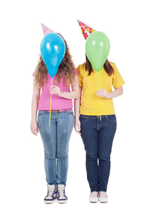 κορίτσια μπαλονιών στοκ εικόνα με δικαίωμα ελεύθερης χρήσης