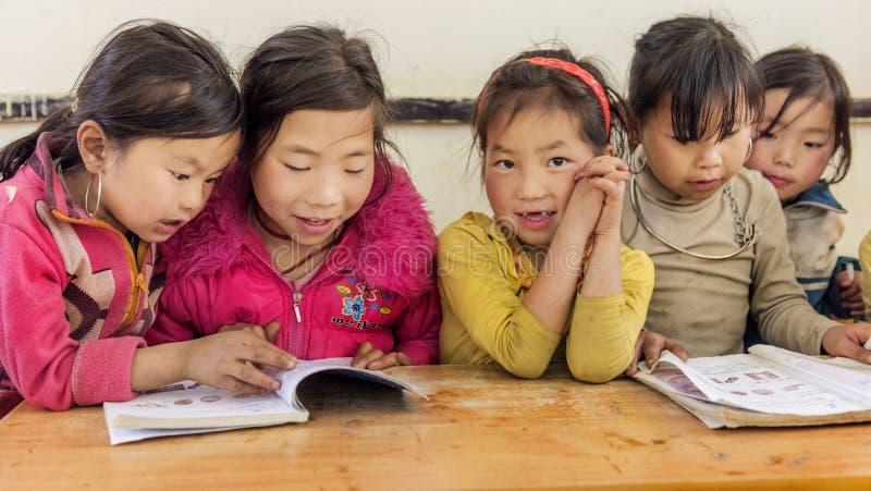 Κορίτσια που διαβάζουν τα βιβλία μέσα στην τάξη σε ένα μικρό χωριό, Sapa, Βιετνάμ στοκ φωτογραφίες