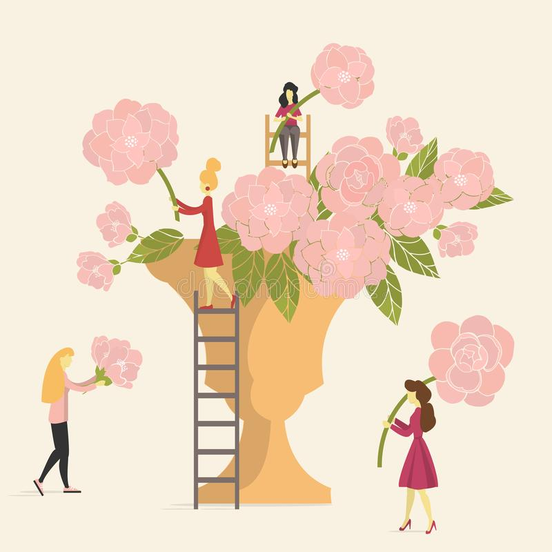 Κορίτσια που κάνουν τις ανθοδέσμες των ρόδινων τριαντάφυλλων στο βάζο απεικόνιση αποθεμάτων