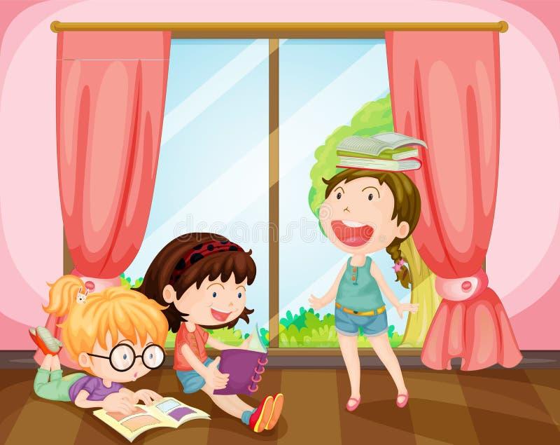 Κορίτσια που μελετούν στο δωμάτιο ελεύθερη απεικόνιση δικαιώματος