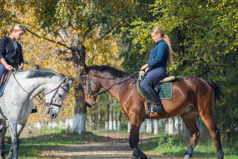 Κορίτσια που οδηγούν ένα άλογο στοκ φωτογραφίες