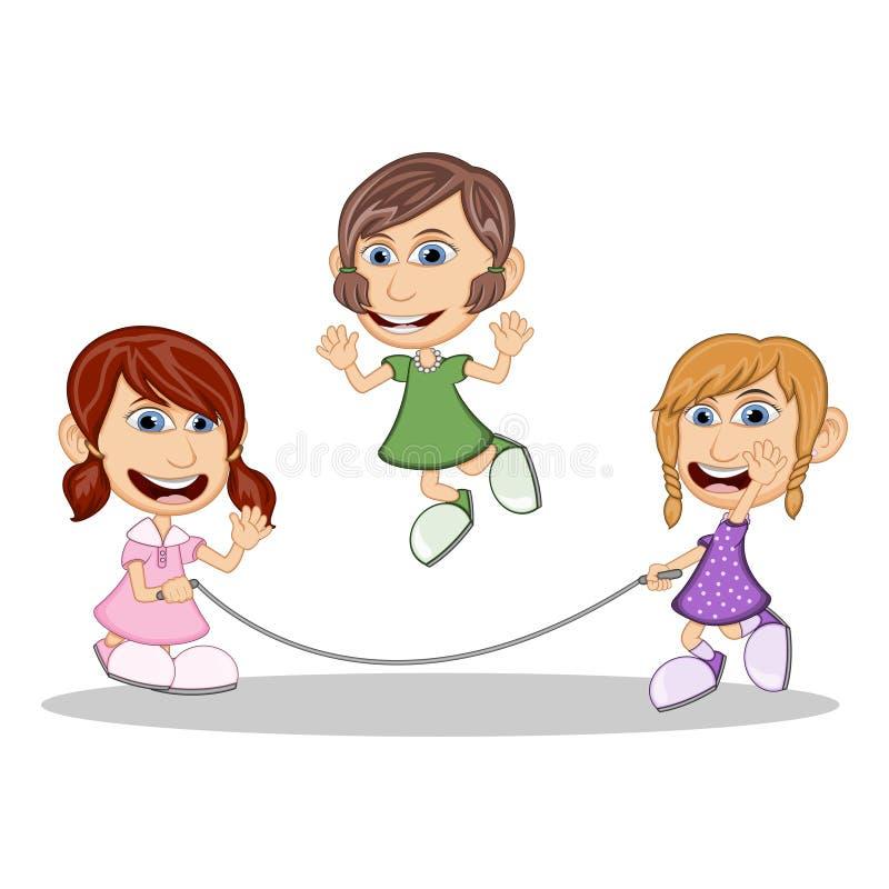 Κορίτσια που παίζουν τα κινούμενα σχέδια σχοινιών άλματος διανυσματική απεικόνιση