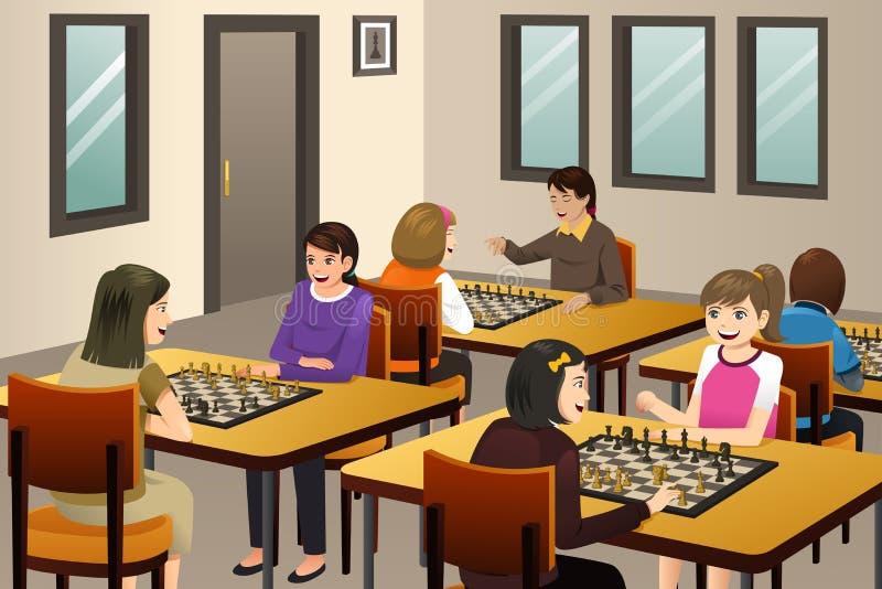 Κορίτσια που παίζουν το σκάκι σε μια λέσχη σκακιού διανυσματική απεικόνιση