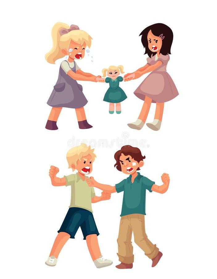Κορίτσια που παλεύουν πέρα από μια κούκλα και punching αγοριών το ένα το άλλο διανυσματική απεικόνιση