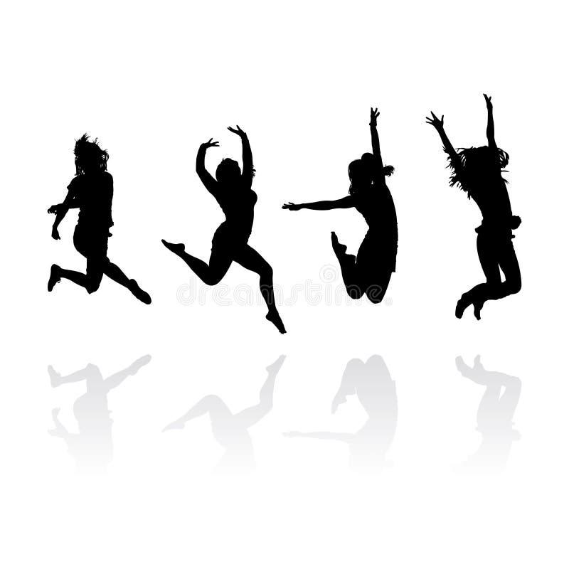 κορίτσια που πηδούν τις σ& διανυσματική απεικόνιση