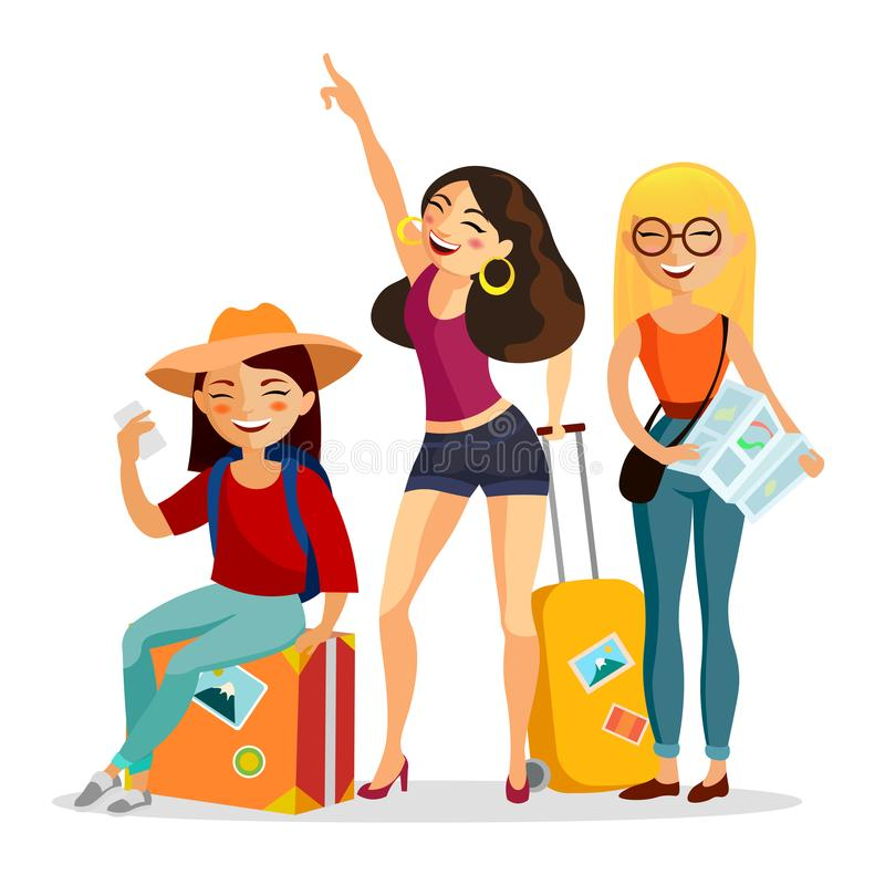 Κορίτσια που ταξιδεύουν μαζί τη διανυσματική επίπεδη απεικόνιση Ταξιδιώτες νέων με τις βαλίτσες που έχουν τη διασκέδαση απομονωμέ ελεύθερη απεικόνιση δικαιώματος