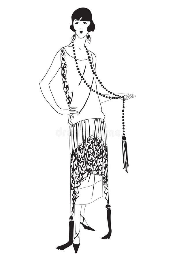 Κορίτσια πτερυγίων (ύφος της δεκαετίας του '20): Αναδρομικό συμβαλλόμενο μέρος μόδας διανυσματική απεικόνιση