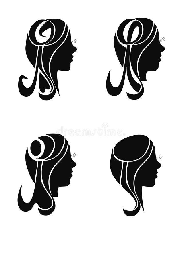 Κορίτσια σκιαγραφιών, κεφάλι στοκ φωτογραφίες με δικαίωμα ελεύθερης χρήσης