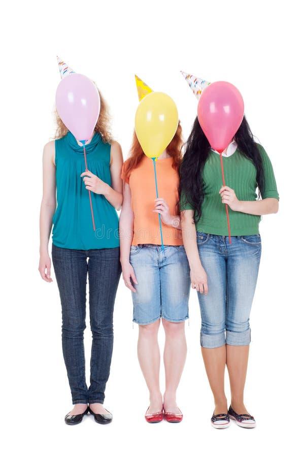 κορίτσια τρία μπαλονιών στοκ φωτογραφία με δικαίωμα ελεύθερης χρήσης