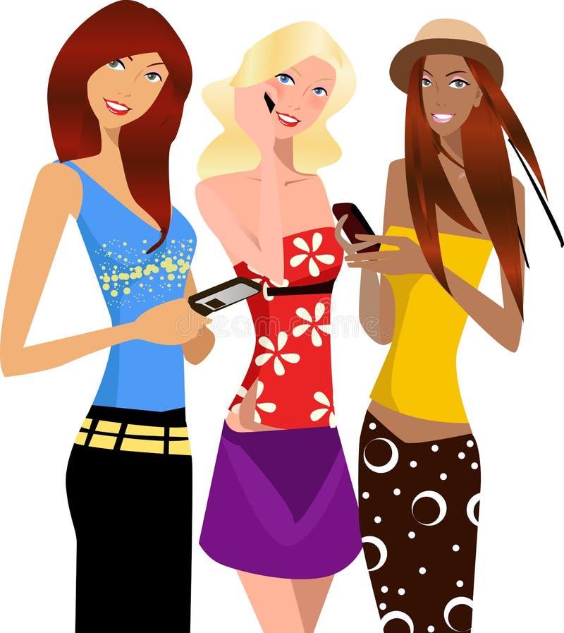 κορίτσια τρία διανυσματική απεικόνιση