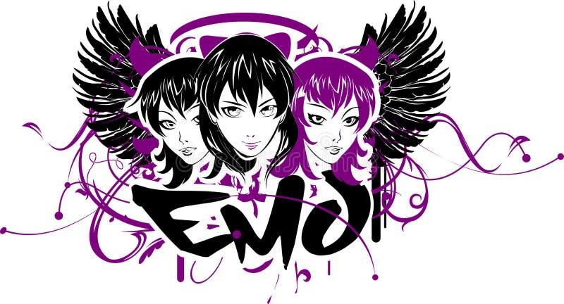 κορίτσια τρία emo εμβλημάτων διανυσματική απεικόνιση