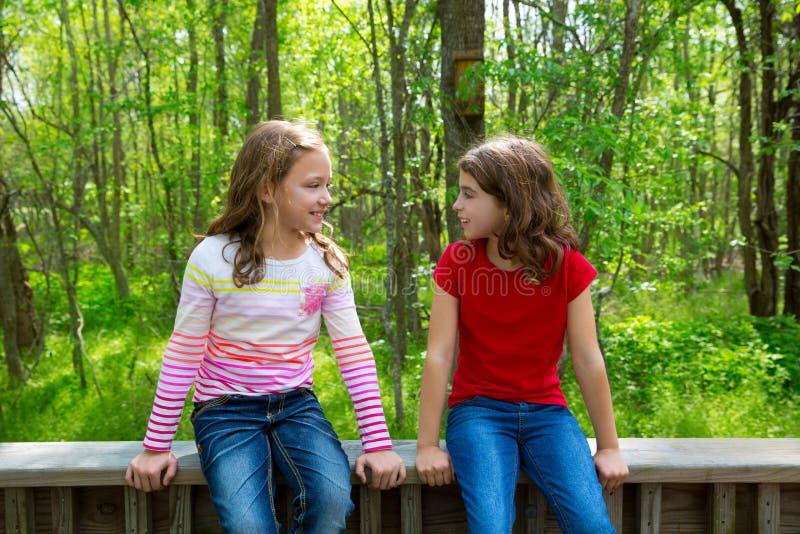 Κορίτσια φίλων παιδιών που μιλούν στο δάσος πάρκων ζουγκλών στοκ εικόνες
