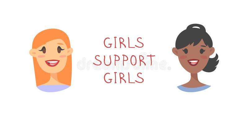 Κορίτσια χαρακτήρων ύφους κινούμενων σχεδίων Διανυσματική απεικόνιση ΚΟΡΙΤΣΙΑ ΥΠΟΣΤΗΡΙΞΗΣ καυκάσιων και αφροαμερικάνων γυναικών κ ελεύθερη απεικόνιση δικαιώματος