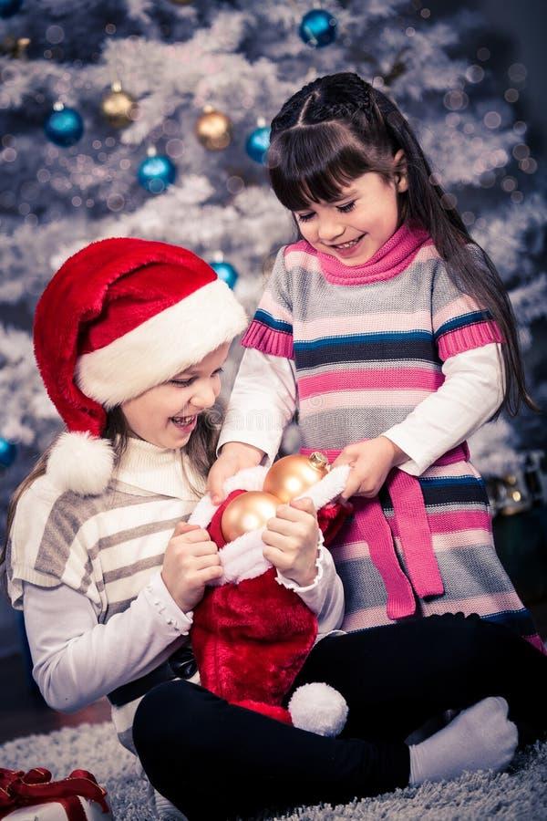 Κορίτσια Χριστουγέννων στοκ φωτογραφίες