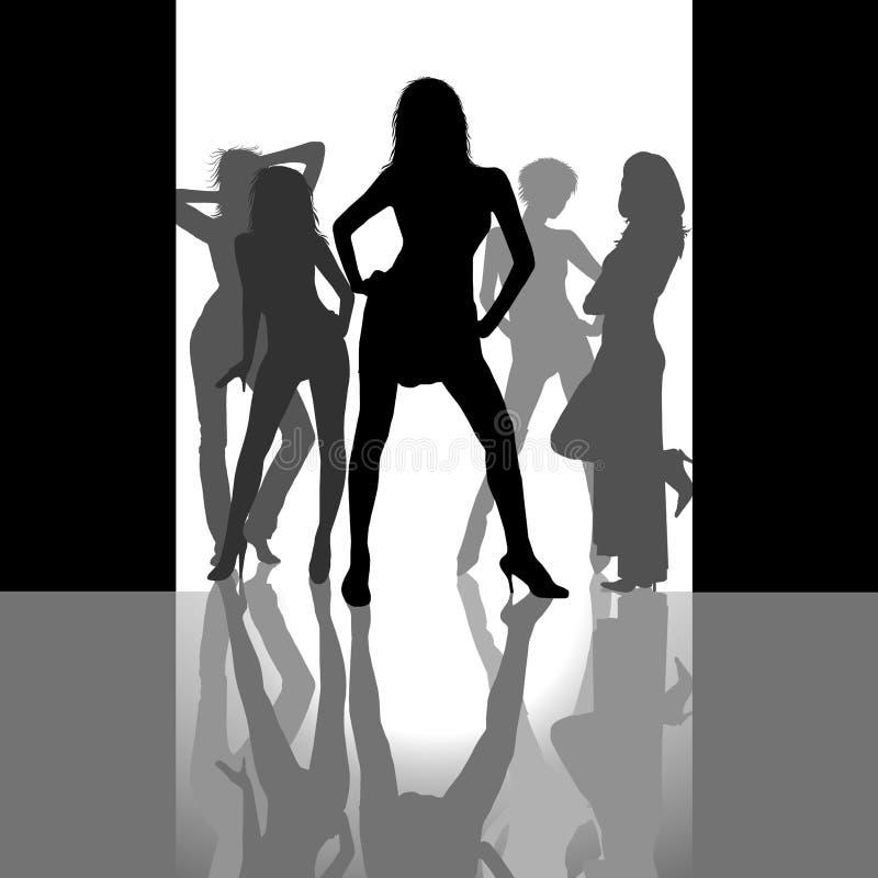 κορίτσια disco διανυσματική απεικόνιση