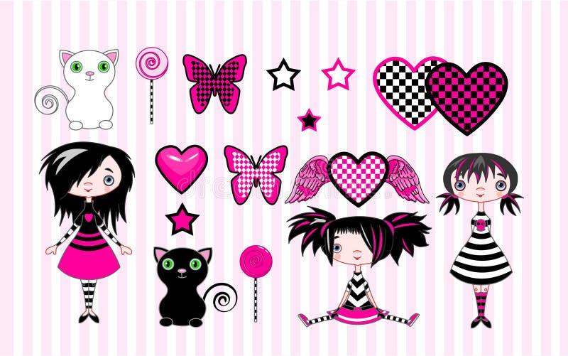 κορίτσια emo λίγα απεικόνιση αποθεμάτων