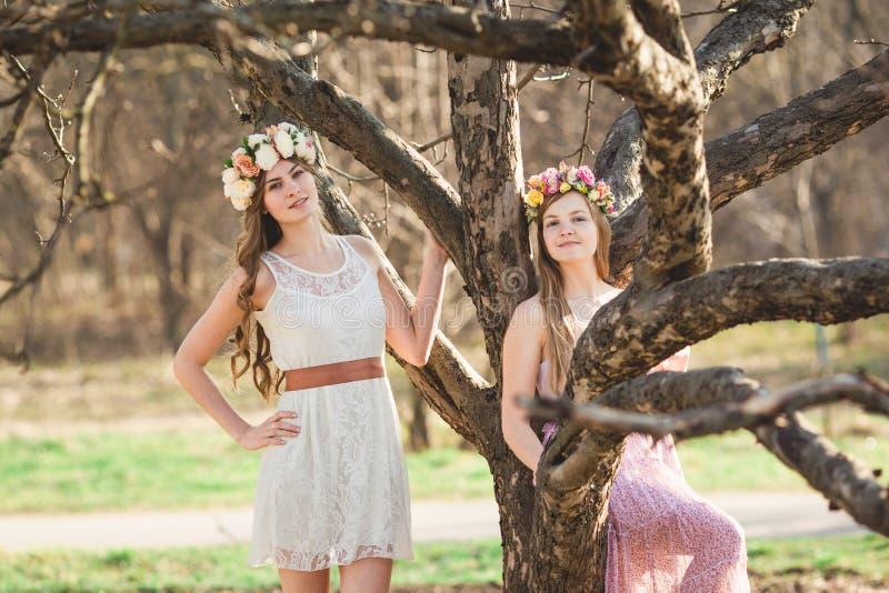 Κορίτσια, floral στεφάνι και δάσος άνοιξη στοκ εικόνα