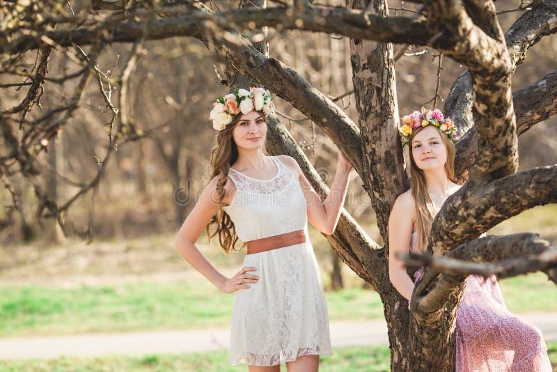 Κορίτσια, floral στεφάνι και δάσος άνοιξη στοκ φωτογραφίες