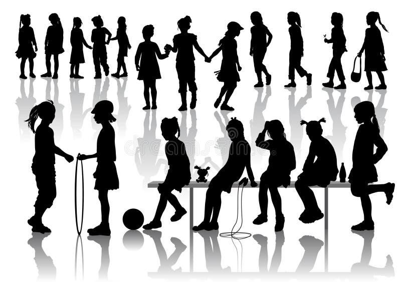 κορίτσια silhuets απεικόνιση αποθεμάτων