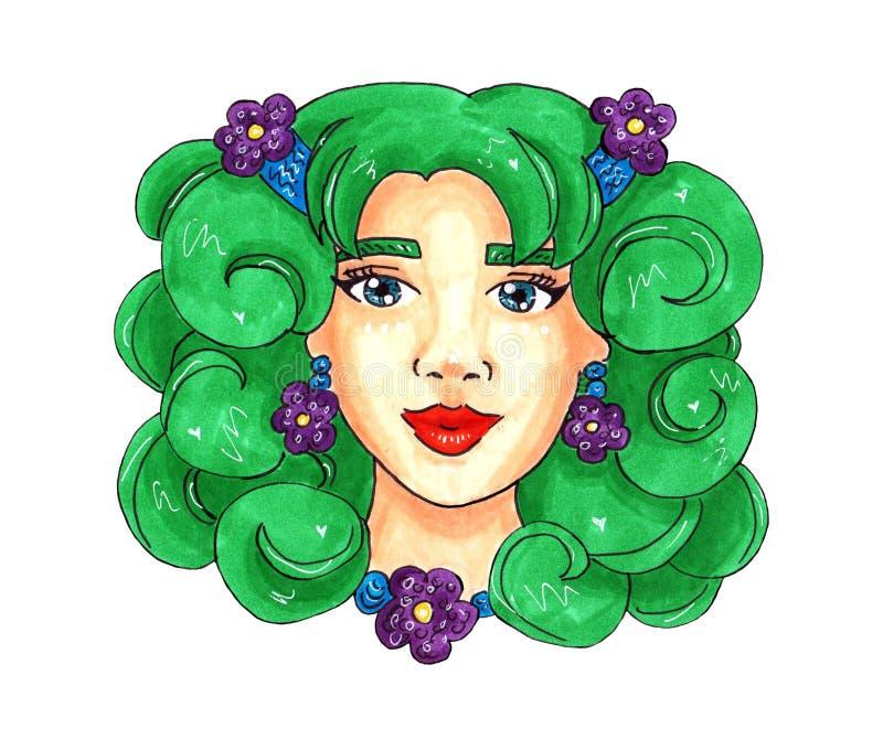 Κορίτσι άνοιξη με την πράσινη τρίχα και τα πορφυρά λουλούδια απεικόνιση για την κάρτα ή την τυπωμένη ύλη διανυσματική απεικόνιση
