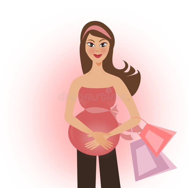 κορίτσι έγκυο διανυσματική απεικόνιση