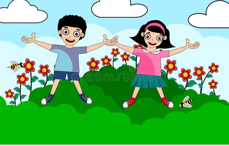 Κορίτσι αγοριών παιδιών στο θερινό χρόνο απεικόνιση αποθεμάτων