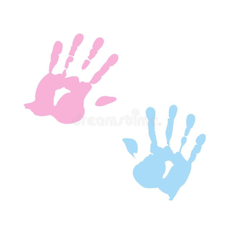 κορίτσι αγοριών handprint διανυσματική απεικόνιση