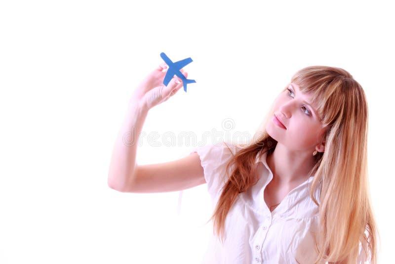 κορίτσι αεροπλάνων στοκ εικόνα