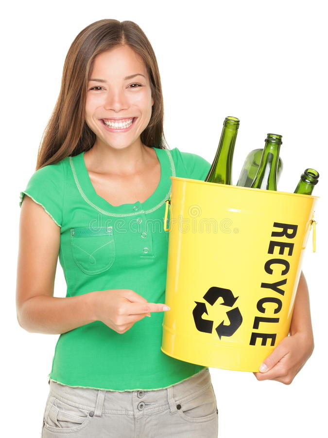 κορίτσι ανακύκλωσης στοκ φωτογραφίες με δικαίωμα ελεύθερης χρήσης