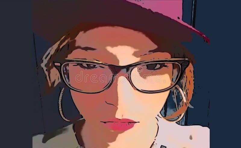 Κορίτσι απεικόνισης με το καπέλο και τα γυαλιά ελεύθερη απεικόνιση δικαιώματος