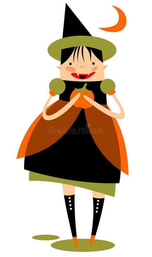 Κορίτσι αποκριών με την κολοκύθα διανυσματική απεικόνιση