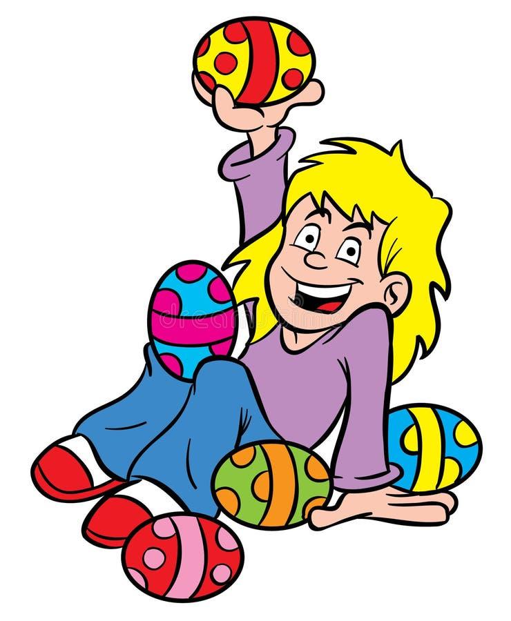 κορίτσι αυγών Πάσχας διανυσματική απεικόνιση