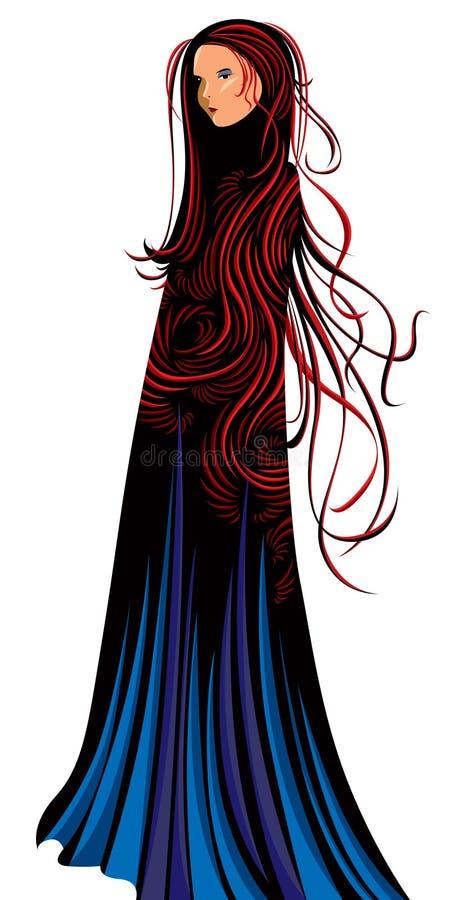 κορίτσι γοτθικό διανυσματική απεικόνιση