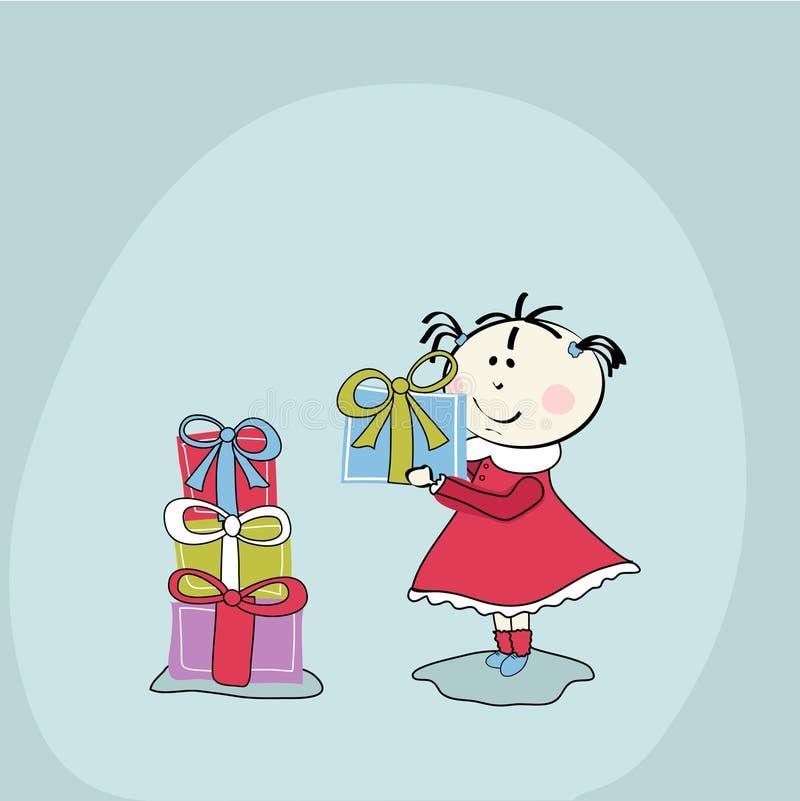 κορίτσι δώρων μωρών λίγα απεικόνιση αποθεμάτων