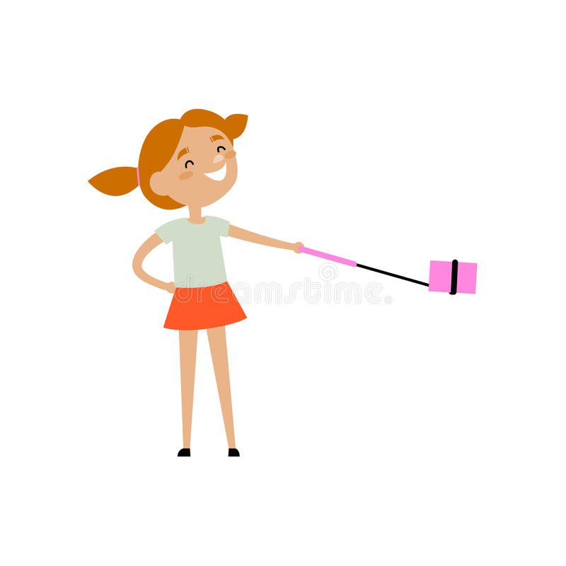 Κορίτσι εφήβων με τα αστεία ponnytails που κάνουν selfie ελεύθερη απεικόνιση δικαιώματος