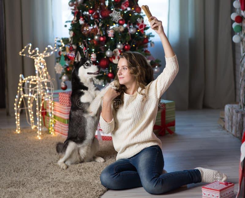 Κορίτσι εφήβων με το σκυλί σε ένα δωμάτιο για τα Χριστούγεννα στοκ εικόνες