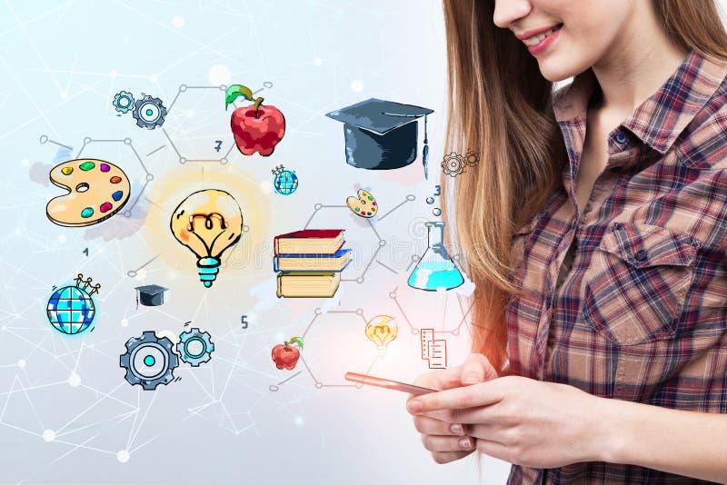 Κορίτσι εφήβων με το smartphone, σκίτσο εκπαίδευσης στοκ εικόνες