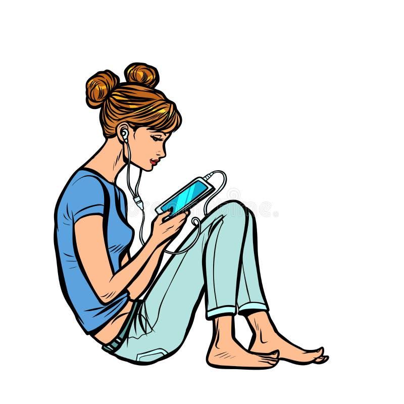 Κορίτσι εφήβων που ακούει τη μουσική ή audiobook στο τηλέφωνο ελεύθερη απεικόνιση δικαιώματος