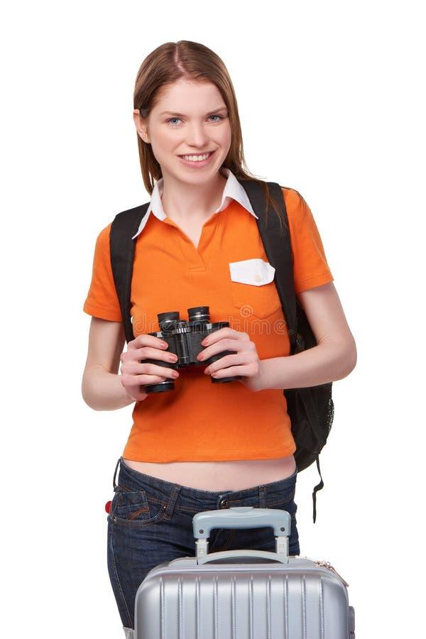 Κορίτσι εφήβων που κοιτάζει μέσω των διοπτρών στοκ φωτογραφία με δικαίωμα ελεύθερης χρήσης