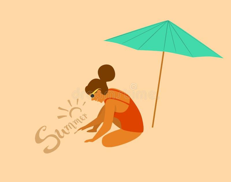 Κορίτσι θερινού χρόνου στο σχέδιο παραλιών στην άμμο διανυσματική απεικόνιση