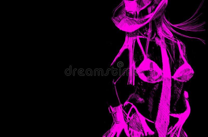 κορίτσι κάουμποϋ διανυσματική απεικόνιση