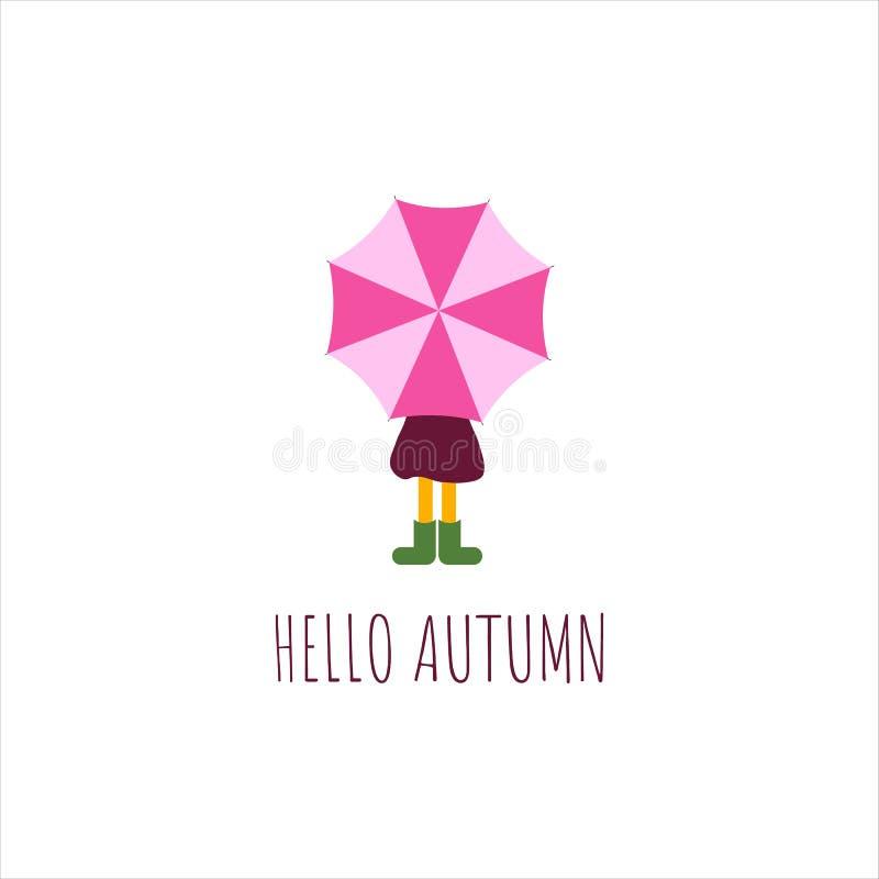 Κορίτσι κάτω από την ομπρέλα με το πορφυρό αδιάβροχο και τις πράσινες λαστιχένιες μπότες r Γειά σου κείμενο φθινοπώρου ελεύθερη απεικόνιση δικαιώματος