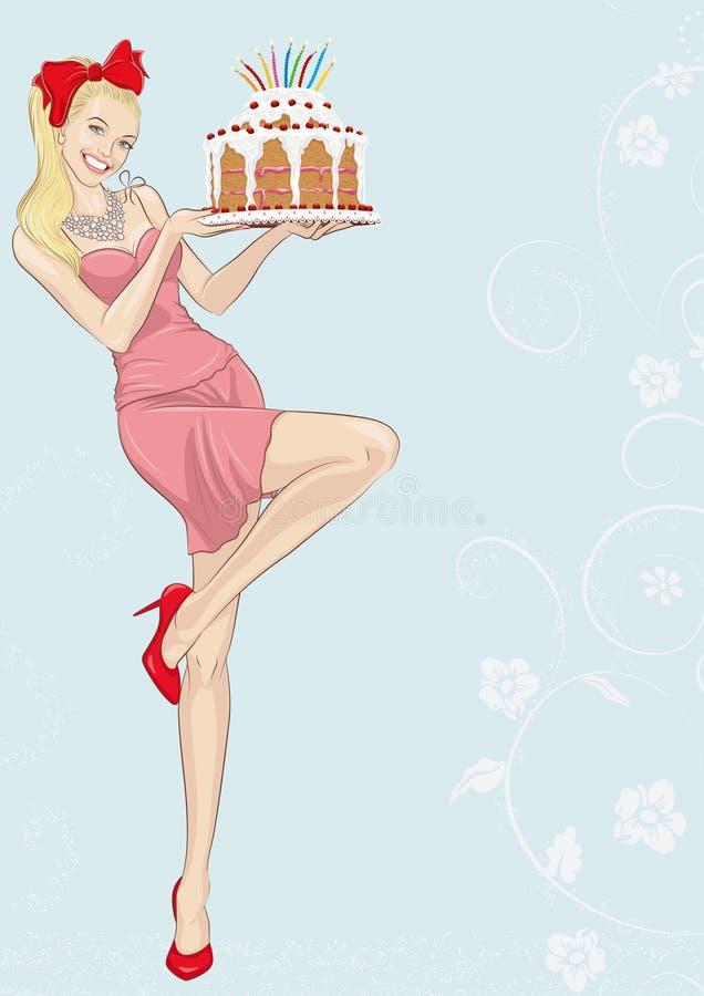 κορίτσι κέικ ελεύθερη απεικόνιση δικαιώματος