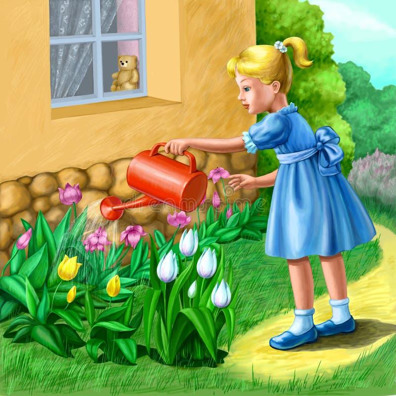 κορίτσι κήπων λίγα διανυσματική απεικόνιση