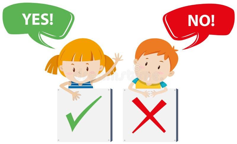 Κορίτσι και αγόρι με τα σημάδια ελεύθερη απεικόνιση δικαιώματος
